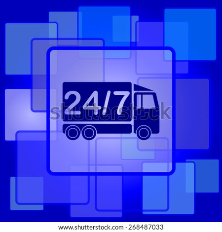 24 7 delivery truck icon. Internet button on abstract background.  - stock vector