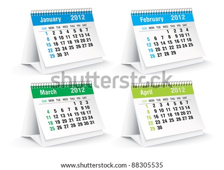 2012 desk calendar - stock vector