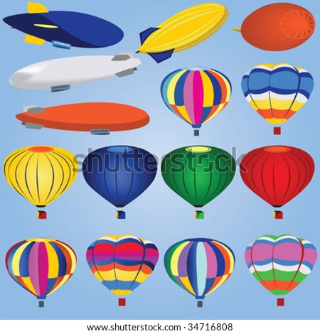 15 different airships and balloons. - stock vector