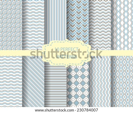 12 different blue and brown seamless patterns, Pattern Swatches, vector, Endless texture can be used for wallpaper, pattern fills, web page,background,surface - stock vector