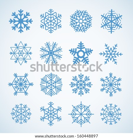 Different blue snowflakes set - stock vector