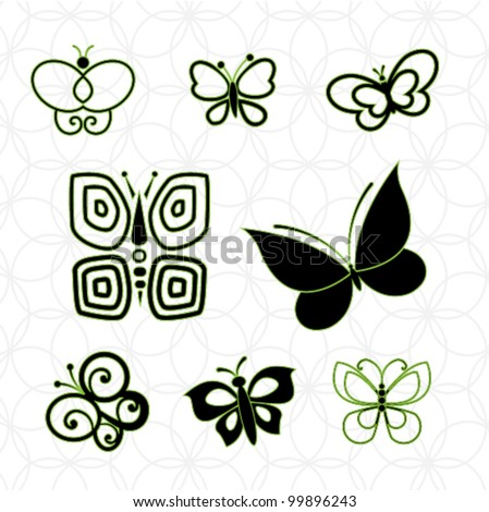 8 different  butterfly elements - stock vector