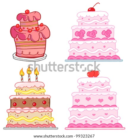 Different Cakes. Vector Collection - stock vector