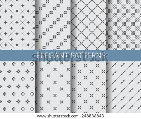 8 different classic black and white seamless patterns. Endless texture can be used for wallpaper, pattern fills, web page background,surface textures. - stock vector
