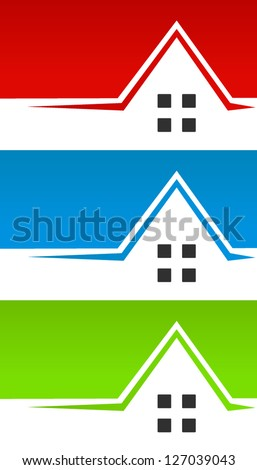 3 Different Color House / Real Estate Banner Backgrounds or Header Graphics for business cards, print designs or webdesign - stock vector