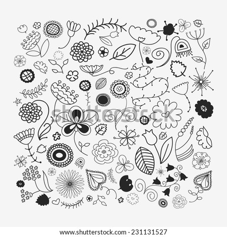 Different doodle flowers and plants. Hand sketched designer's kit can be used for wallpaper, pattern fills, web page background, surface textures. Gorgeous floral elements - stock vector