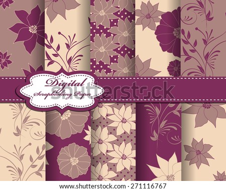 10 different floral japanese asian traditional patterns, Swatches, vector, texture can be used for wallpaper, pattern fills, web page, background, surface - stock vector