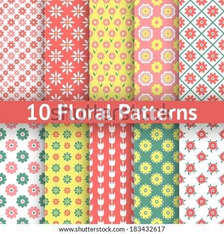 10 Different floral vector seamless patterns (tiling). Romantic colorful texture for printing onto fabric and paper or scrap booking. Bright red, white, yellow and green colors. Abstract nature design - stock vector
