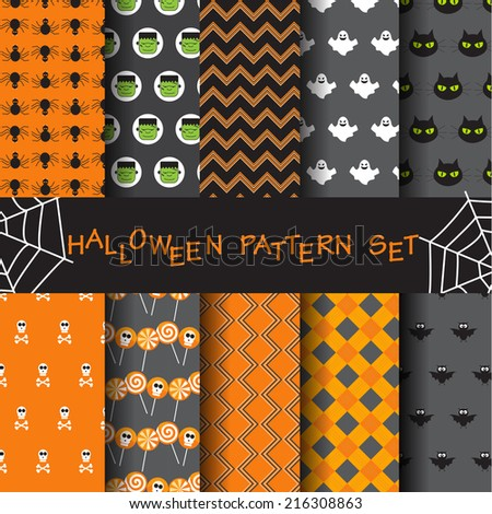 10 different halloween vector seamless patterns. Endless texture can be used for wallpaper, pattern fills, web page,background,surface - stock vector