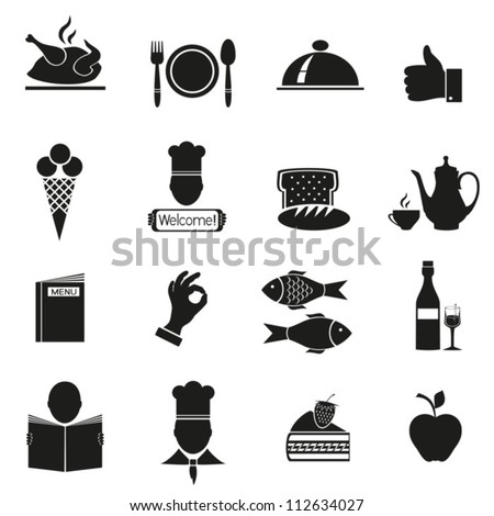 Different icons with food of black color.Vector. EPS-10 (non transparent elements,non gradient) - stock vector