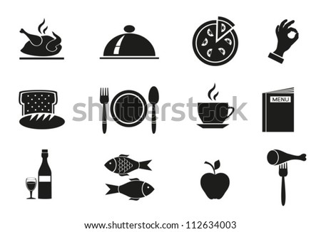 Different icons  with food on white background. Vector. EPS-10 (non transparent elements,non gradient) - stock vector
