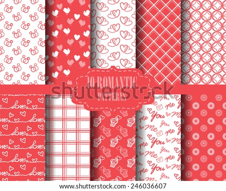 12 different love patterns, for valentines day set, Pattern Swatches, vector, Endless texture can be used for wallpaper, pattern fills, web page,background,surface - stock vector