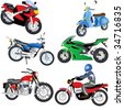 6 different motorcycles. - stock vector
