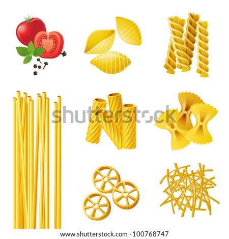 7 different pasta types . EPS 10 - stock vector