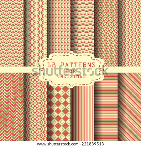 12 different seamless patterns. for christmas , new year or celebration,  can be used for wallpaper, pattern fills, web page background,surface textures. - stock vector