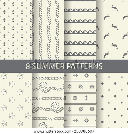 8 different summer patterns, Swatches, vector, Endless texture can be used for wallpaper, pattern fills, web page,background,surface  - stock vector