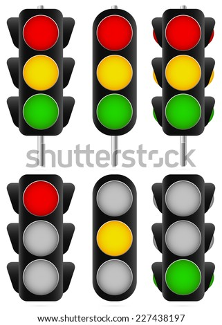 3 different traffic light set. Isolated and versions with poles /traffic lamps, semaphores, green, red, yellow and stoplight/ - stock vector