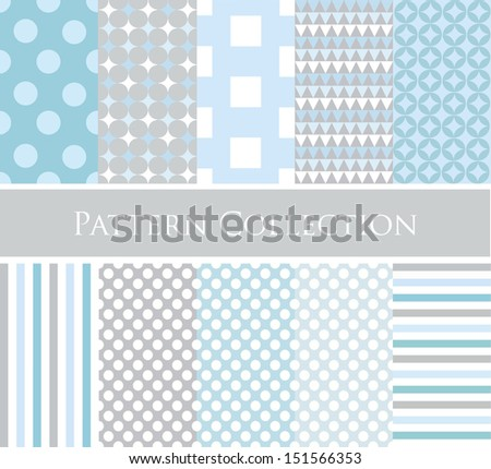 10 different vector seamless patterns (tiling). Endless texture can be used for wallpaper, pattern fills, web page background,surface textures. Geometric ornaments. - stock vector