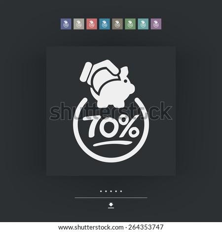 70% Discount label icon - stock vector