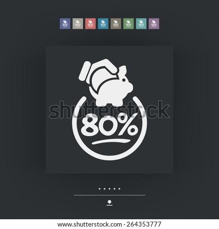 80% Discount label icon - stock vector