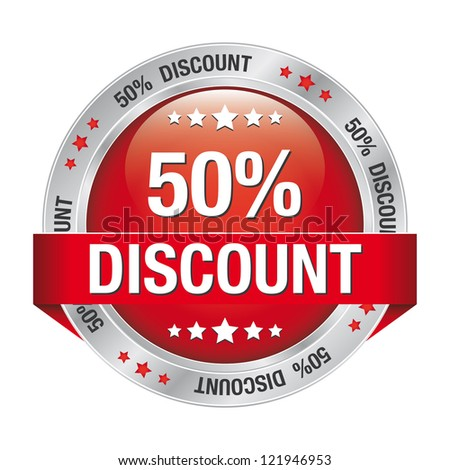 50 discount red silver button isolated background - stock vector