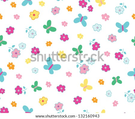 ditsy for kids seamless background - stock vector