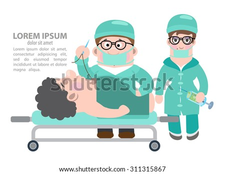 doctors carried out an operation - stock vector