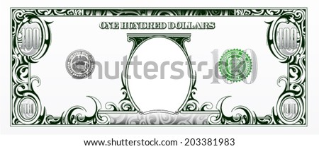 100 dollars bill. Cartoon money - stock vector