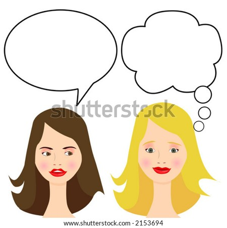'Don't I wish!' Cartoon. Easily move or copy the talk balloon layers to switch which character is speaking or thinking. - stock vector