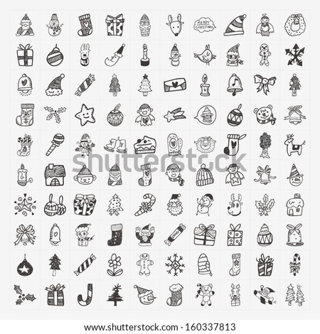 100 Doodle Christmas icon set - stock vector