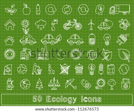 50 doodle ecology elements, vector set - stock vector