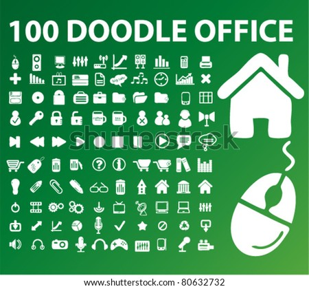 100 doodle office icons, signs, vector - stock vector