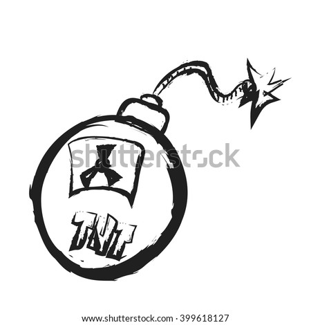 doodle old grenade with burning fuse, dirty bomb with TNT and radiation, vector icon illustration - stock vector