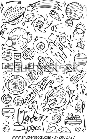 doodle space elements. Vector illustration with hand drawn doodle space elements for wallpaper, wrapping, textile prints,books,school. - stock vector