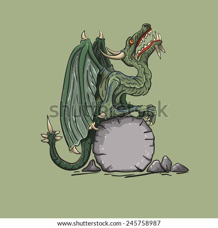Dragon sits on a stone having put wings and looks in top - stock vector