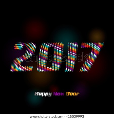 2017 drawn from the color stripe - stock vector