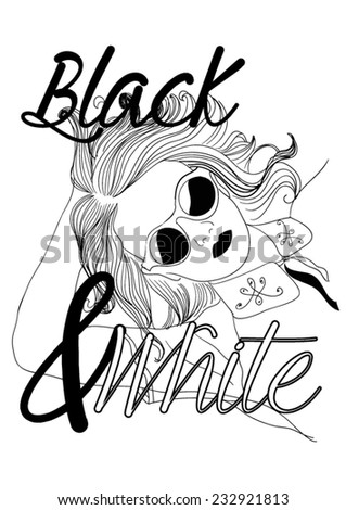 ''Dream on'' girl illustration with black and white slogan.Hand drawn illustration in vector. - stock vector