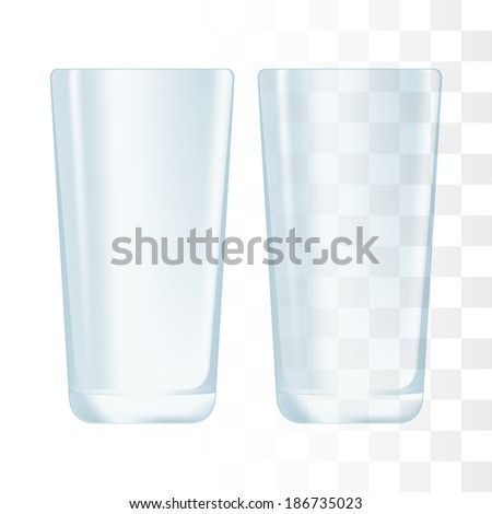 Drinking glass cup. Transparent glass. - stock vector