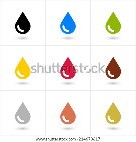 9 drop (petroleum, water, eco, oil, blood, chocolate, silver, copper, gold) set in simple flat style. Black, blue, green, yellow, crimson, brown, gray colors shapes with shadow on white background - stock vector