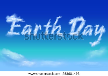 """earth day"" font from cloud on sky - stock vector"