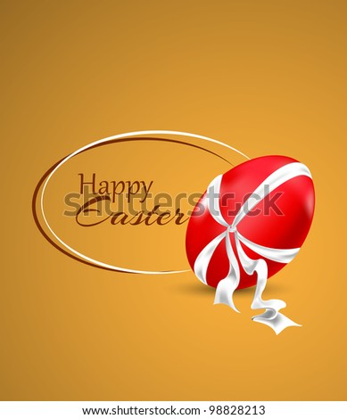 Easter Card with Egg and Ribbon | Editable - stock vector
