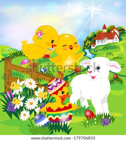 Easter egg hunt   Two cute chicks, a lamb and a duck,    - stock vector