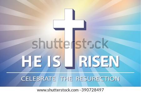 Easter.He is risen.Easter blurred background.Vector illustration,wallpaper. Blue ,orange suset sky  divine sunlight ,crucifixion,cross. Religious design template, a symbol of faith.Horizontal - stock vector