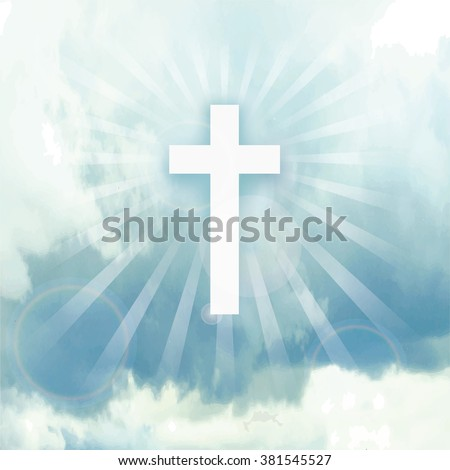 Easter.He is risen.Paradise,heaven.Easter background.Blue sky.Vector illustration,wallpaper.Blue sky,clouds, divine sunlight ,crucifixion,cross. Religious design template, a symbol of faith.Square  - stock vector