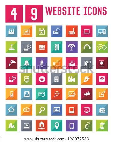 49 Easy Website icons,vector  - stock vector