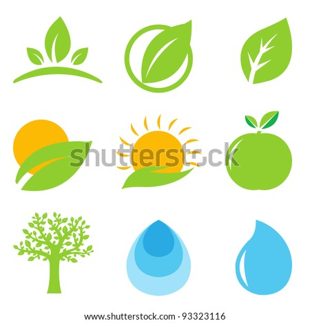 9 Eco Signs, Isolated On White Background, Vector Illustration - stock vector