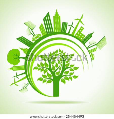 Ecology Concept - eco cityscape with tree. vector illustration - stock vector