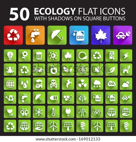 50 Ecology Flat Icons with Shadows on Buttons. - stock vector