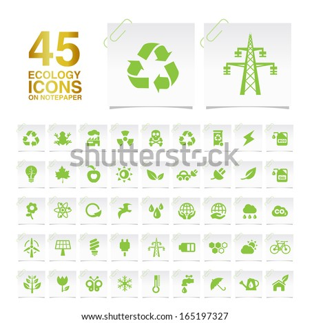 45 Ecology Icons on Notepaper. - stock vector
