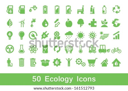 50 ecology icons, vector set - stock vector